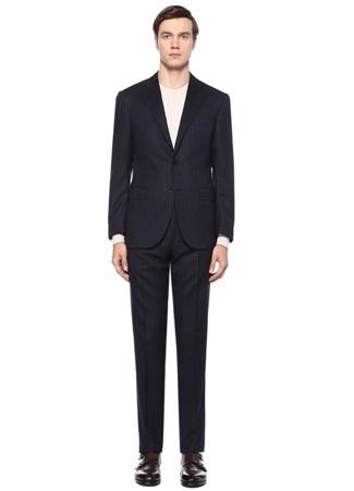Drop 7 Lacivert Çizgili Yün Takım Elbise