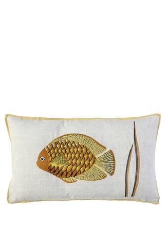 Iosis Poseidon Soleil Balık Nakışlı Keten Yastık Kılıfı Beyaz