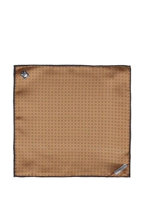 Kahverengi Mikro Desenli Erkek İpek Poşet Mendil