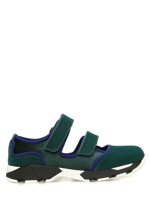 Yeşil Kontrast Şeritli Kadife Saten Kadın Sneaker