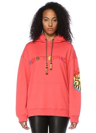 Etro Kadın Pembe Kapüşonlu Logo Baskılı Oversize Sweatshirt 42 I (IALY)