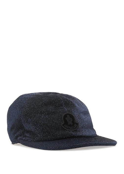Lacivert Logolu Simli Kız Çocuk Şapka