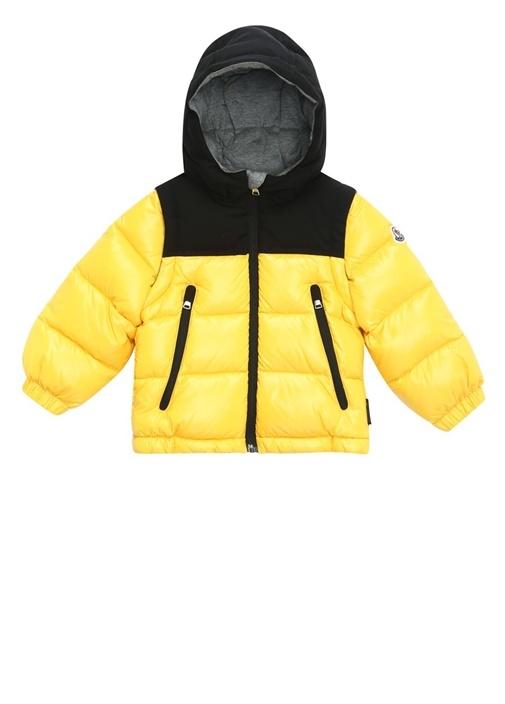 Sarı Siyah Kapüşonlu Erkek Bebek Puff Mont