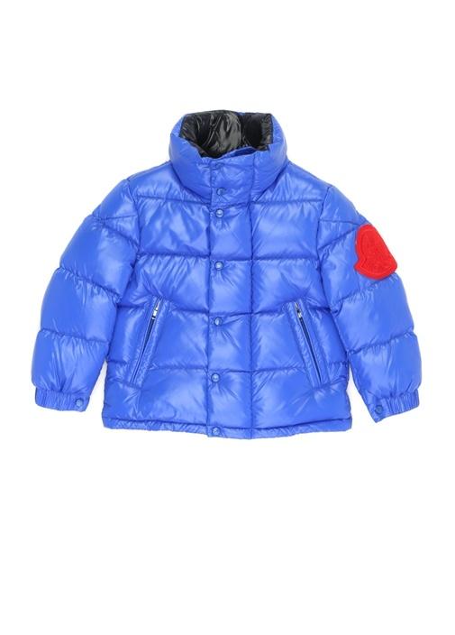 Mavi Logo Patchli Dik Yaka Erkek Çocuk Puff Mont