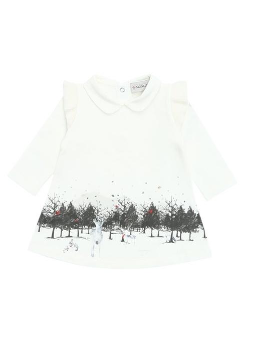 Beyaz Bebe Yaka Orman Baskılı Kız BebekElbise