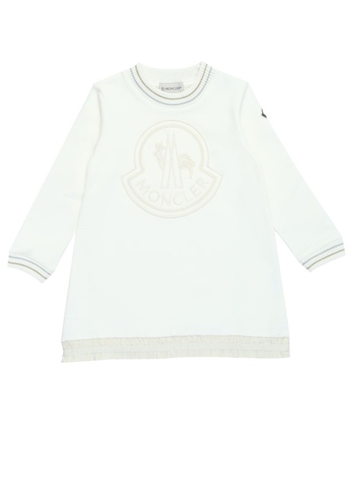 Beyaz Logo Nakışlı Ucu Fırfırlı Çocuk Elbise