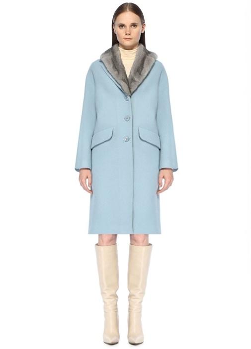 Mavi Gri Yaka Detaylı Yün Palto