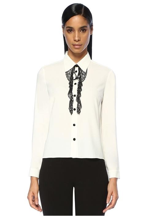 Beyaz Taşlı Dantel Detaylı Gömlek