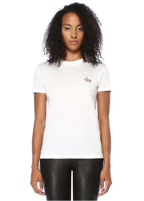 Beyaz Logo Nakışlı Sırtı Çiçek Patchli T-shirt