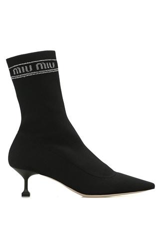 Miu Kadın Siyah Logo Jakarlı Çorap Formlu Bot 38 EU