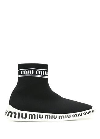 Miu Kadın Siyah Logo Jakarlı Çorap Formlu Sneaker 4 EU
