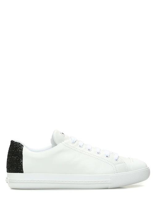 Beyaz Siyah Sim Detaylı Logolu Kadın Deri Sneaker