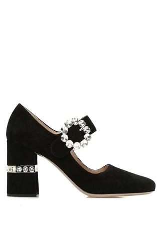Miu Kadın Siyah Bantlı Taşlı Süet Topuklu Ayakkabı 36.5 EU