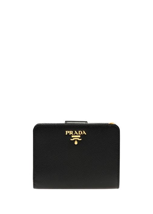 Siyah Dokulu Gold Logolu Kadın Deri Cüzdan