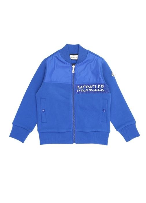 Mavi Dik Yaka Garnili Erkek Çocuk Sweatshirt