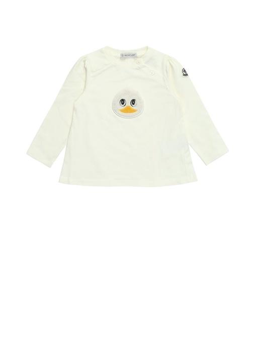Beyaz Patch Detaylı Uzun Kol Kız Bebek T-shirt