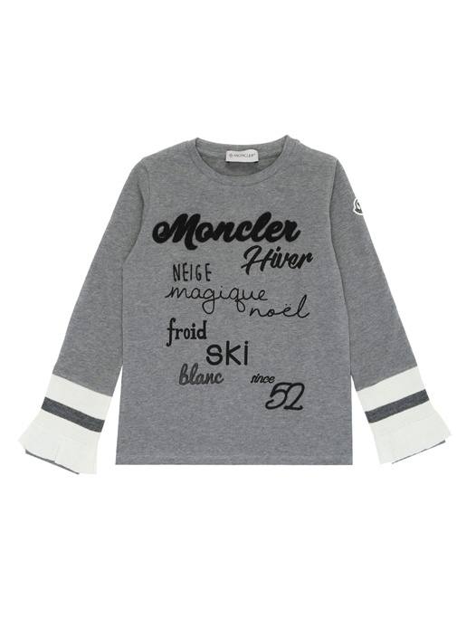 Gri Logo Nakışlı Kolu Şeritli Kız ÇocukT-shirt