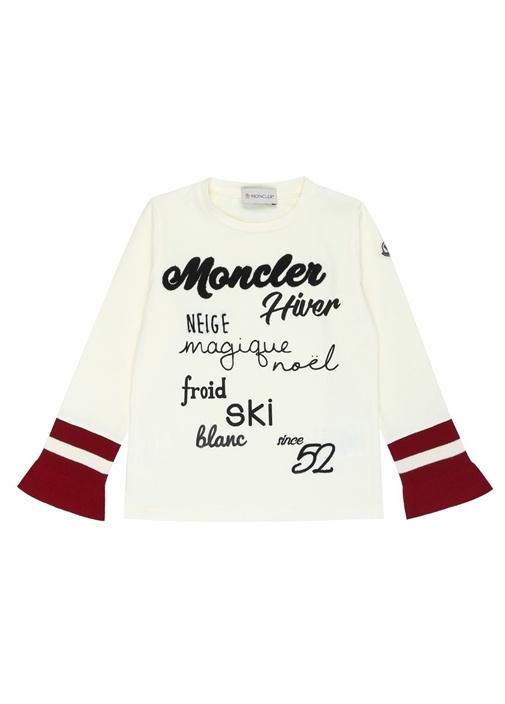 Beyaz Logo Nakışlı Kolu Şeritli Kız Çocuk T-shirt