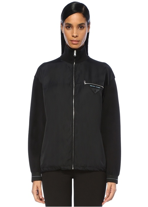 Siyah Dik Yaka Ucu Büzgülü Düşük Kol Yün Ceket