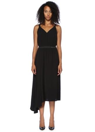 Prada Kadın Siyah V Yaka Asimetrik Midi Elbise 44 I (IALY) Ürün Resmi