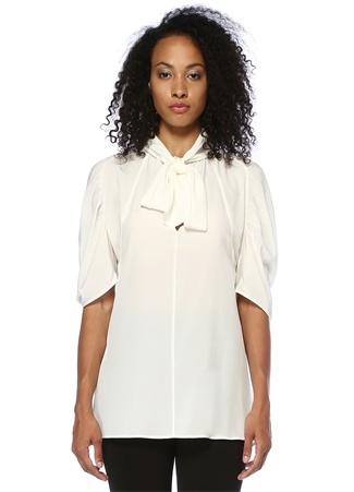 Prada Kadın Ekru Yakası Bağcıklı Reglan Kollu İpek Bluz Bej 42 I (IALY) Ürün Resmi