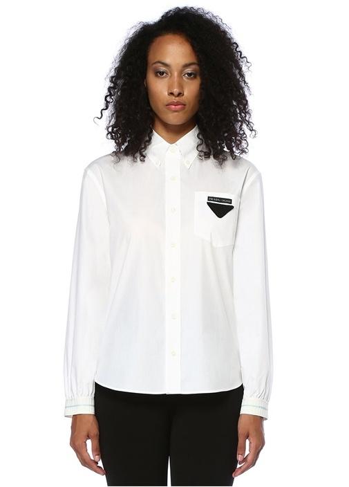 Beyaz Logolu Cepli Manşet Detaylı Gömlek