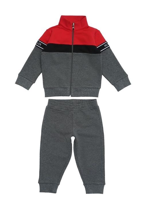 Gri Kırmızı Fermuarlı Erkek Bebek Eşofman Takımı