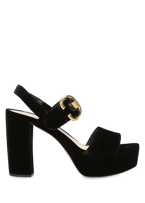Siyah Kadife Kadın Gece Ayakkabısı