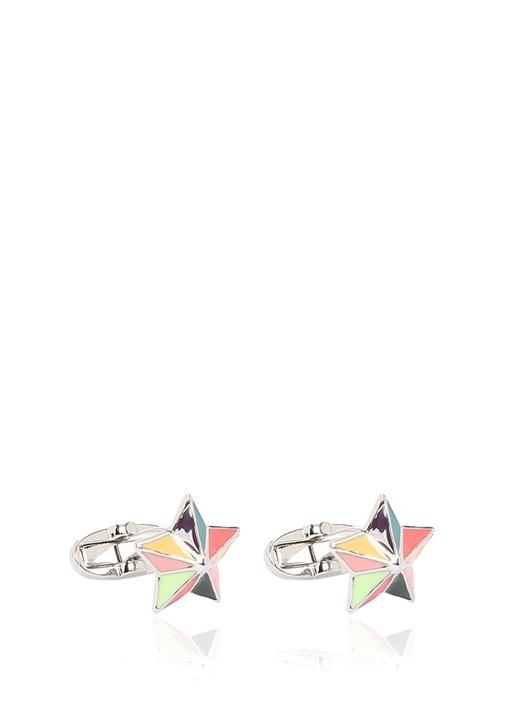 Colourblocked Yıldız Formlu Kol Düğmesi