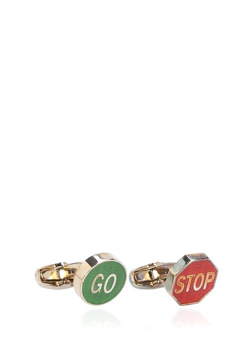Kırmızı Yeşil Yazı Baskılı Kol Düğmesi