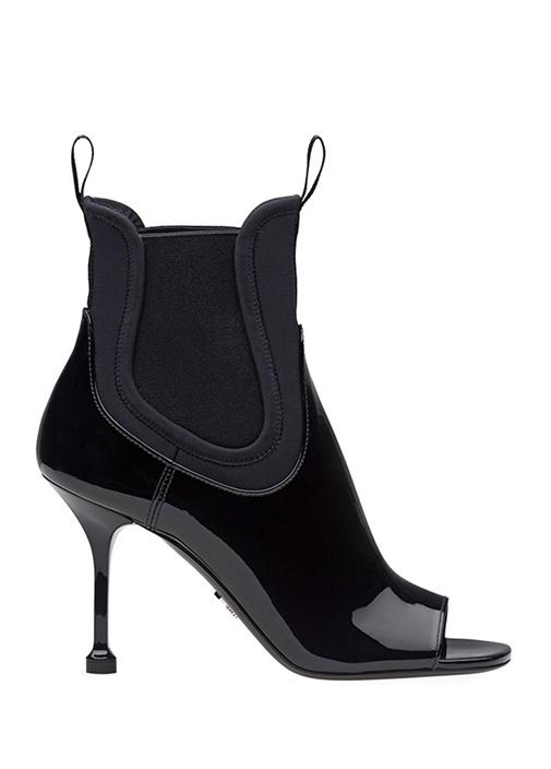 Siyah Önü Açık Garnili Kadın Deri Bot