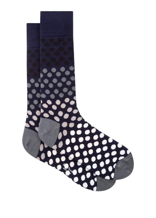 Lacivert Puantiyeli Erkek Çorap