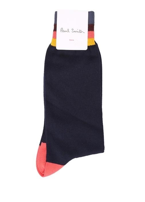 Lacivert Şerit Detaylı Erkek Çorap