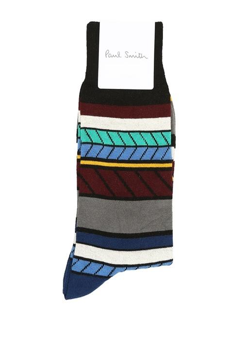 Siyah Geometrik Desenli Şeritli Erkek Çorap