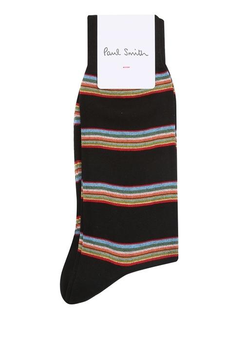Siyah Renkli Çizgili Erkek Çorap