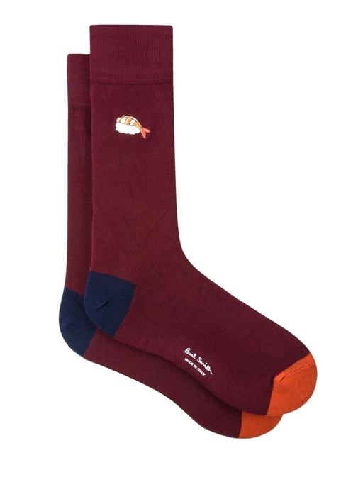 Bordo Balık Nakışlı Erkek Çorap