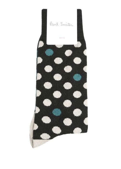 Siyah Gri Puantiyeli Logolu Erkek Çorap