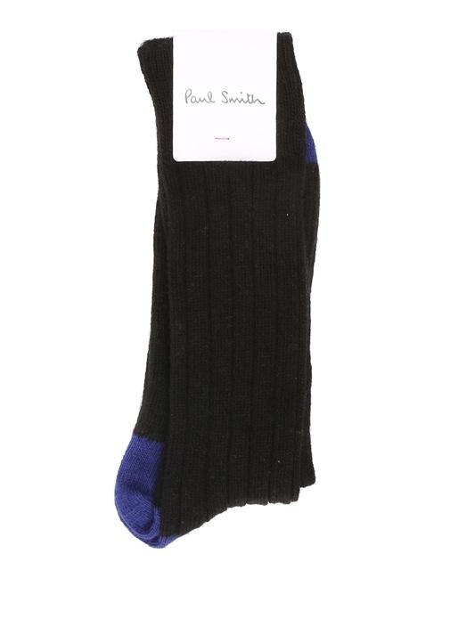 Siyah Lacivert Çizgi Dokulu Erkek Yün Çorap