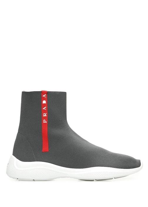 Antrasit Logolu Çorap Formlu Kadın Sneaker