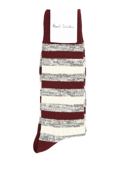 Bordo Beyaz Çizgili Logo Jakarlı Erkek Çorap