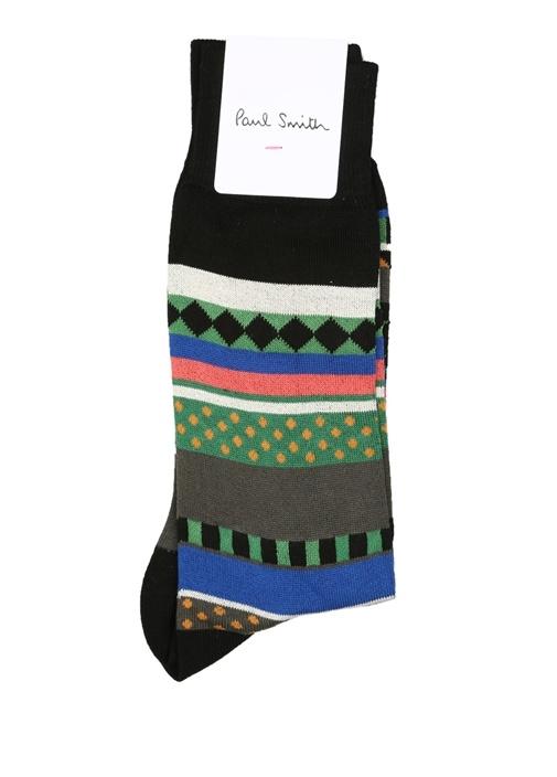 Siyah Etnik Desenli Logolu Erkek Çorap
