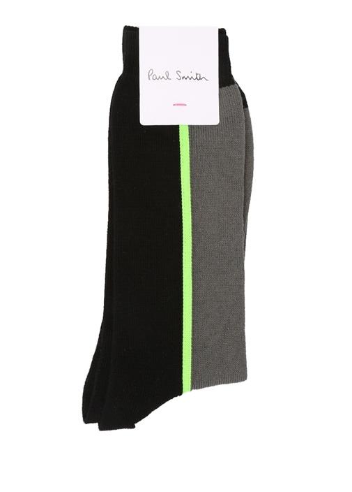 Gri Siyah Neon Şeritli Erkek Çorap