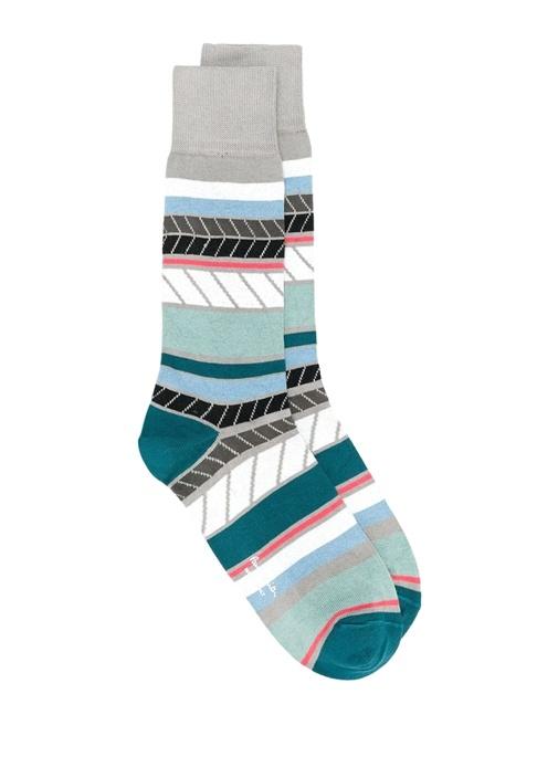 Gri Yeşil Çizgili Şerit Detaylı Erkek Çorap