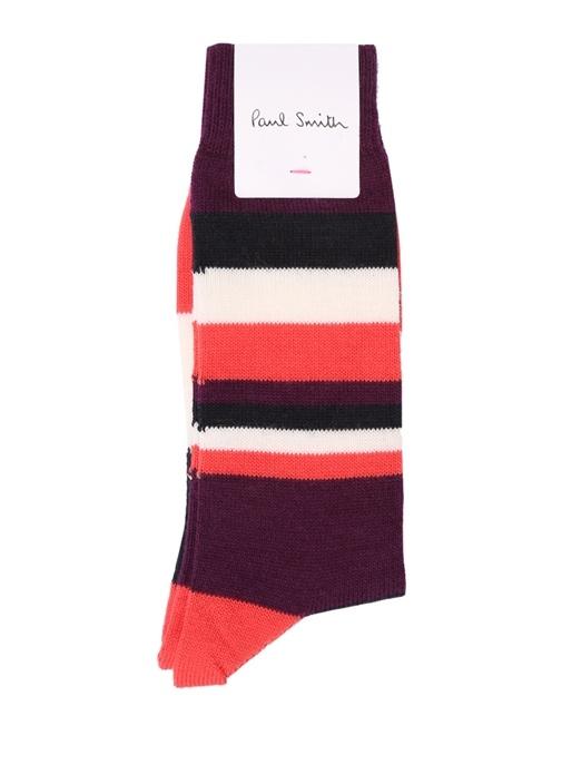 Colorblocked Çizgili Erkek Yün Çorap