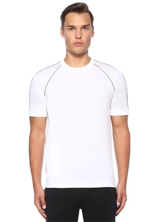 Beyaz Biye Detaylı Logolu Basic T-shirt