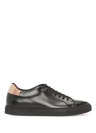 Siyah Topuk Detaylı Erkek Deri Sneaker