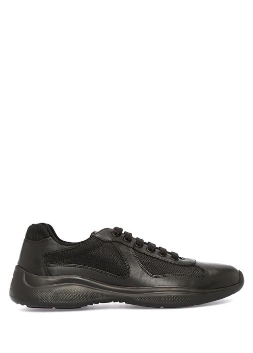 Siyah File Dokulu Erkek Deri Sneaker