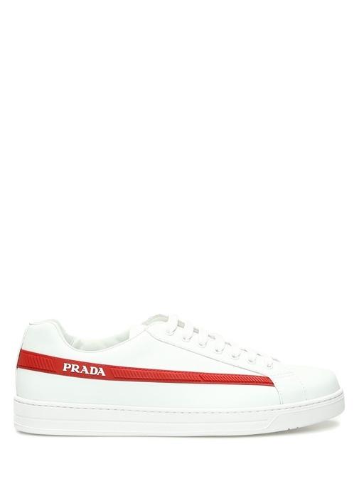 Prada Sport Beyaz ERKEK  Beyaz Logolu Şeritli Erkek Deri Sneaker 520623 Beymen