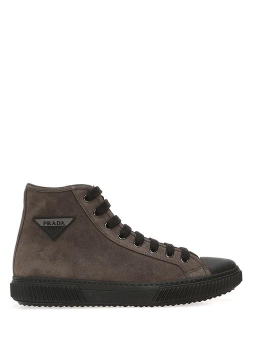Gri Bağcıklı Erkek Deri Sneaker