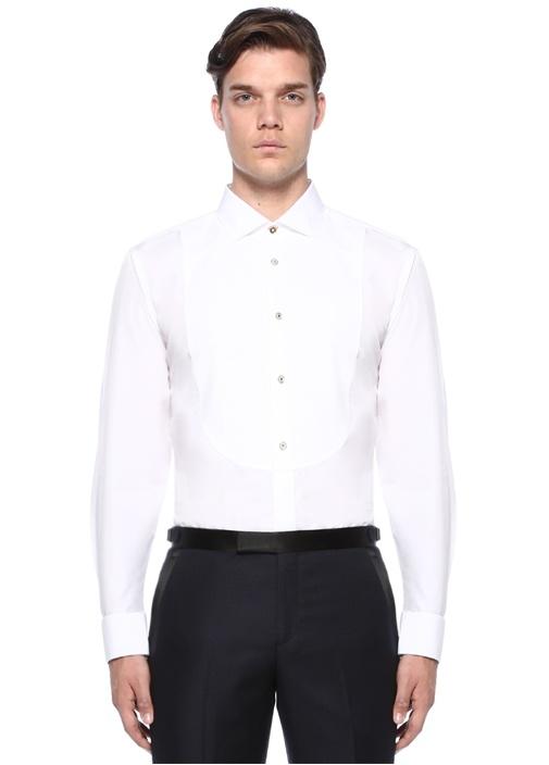 Tailored Fit Beyaz Klasik Yaka Garnili Gömlek